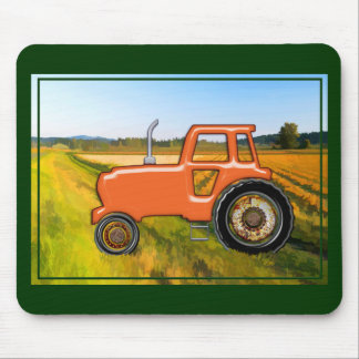 Orange Tractor  in the Fields Mouse Pad