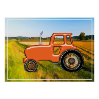 Orange Tractor  in the Fields Poster