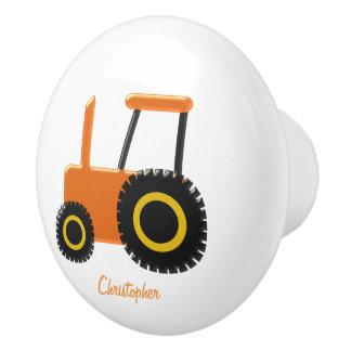 Orange Tractor Just Add Name Ceramic Knob