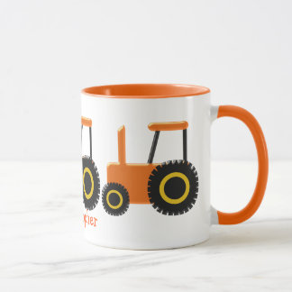 Orange Tractor Just Add Name Mug