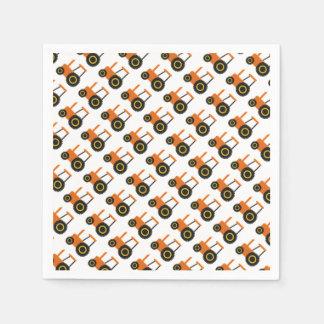 Orange Tractor Paper Napkin