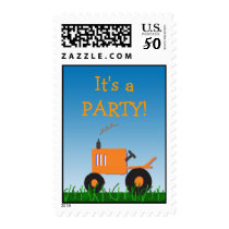 Orange Tractor Party Postage Stamp