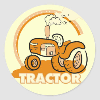 Orange Tractor Tshirts and Gifts Classic Round Sticker