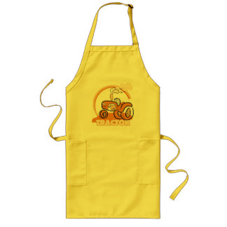 Orange Tractor Tshirts and Gifts Long Apron