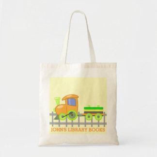 Orange Train Library Books Tote Bag