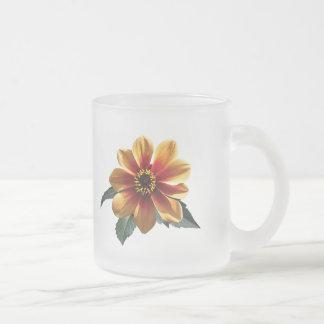 Orange Treasure Flower Frosted Glass Coffee Mug