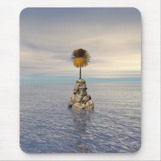 Orange Tree At Sea On Rock Mouse Pad