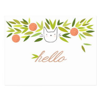 Orange Tree Cat Postcard