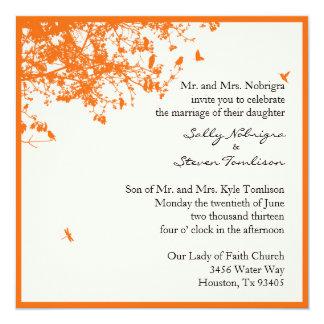 "Orange Trees & Birds 5.25"" Square Invitation Card"
