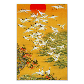 Orange trees, sunset and cranes poster