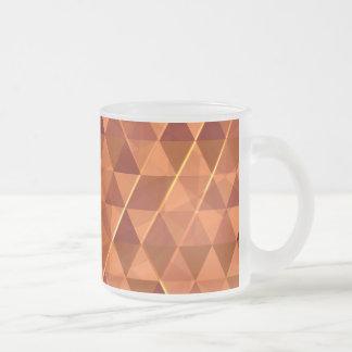 Orange triangle pattern frosted glass coffee mug
