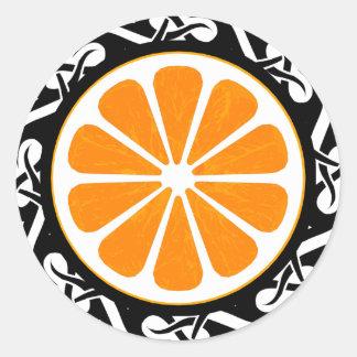 orange. tribal. classic round sticker