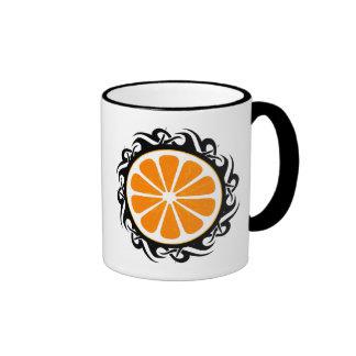 orange. tribal. ringer coffee mug