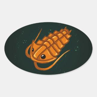 Orange Trilobite Oval Sticker