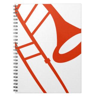 Orange Trombone Musical Instrument Icon Notebook
