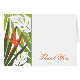 Orange Tropical Floral Thank You Card