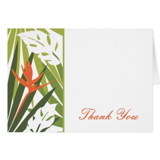 Orange Tropical Floral Thank You Card