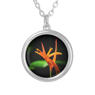 Orange tropical flowers isolated against black bac silver plated necklace