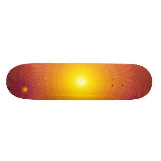 Orange Tropical Flowers Skateboard