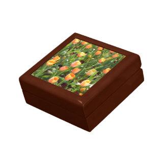 Orange Tulip Field Painting Trinket Box