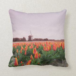 Orange Tulip Field & Windmill Holland Pillow