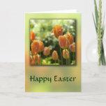 Orange Tulip Flowers Easter Card
