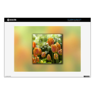 Orange Tulip Flowers Laptop Decals