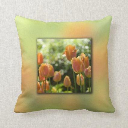 Orange Tulip Flowers Pillow