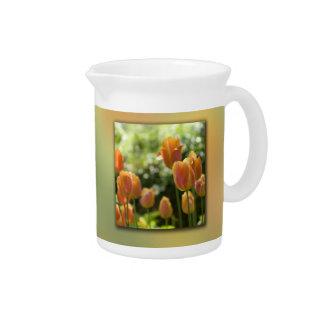 Orange Tulip Flowers Pitcher