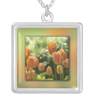 Orange Tulip Flowers Square Pendant Necklace