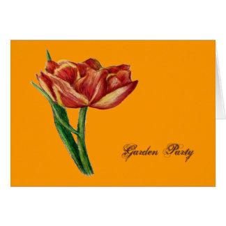 ORANGE TULIP GARADEN PARTY INVITATION GREETING CARD
