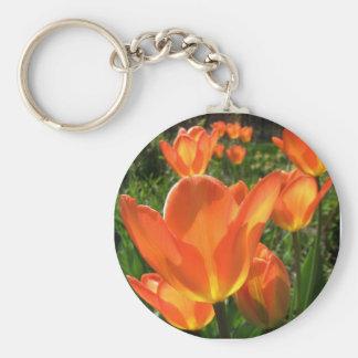 Orange Tulip Garden Flowers Keychain