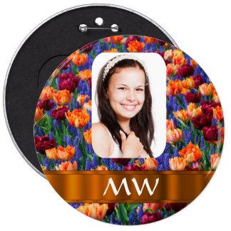 Orange tulip personalized photo pinback button