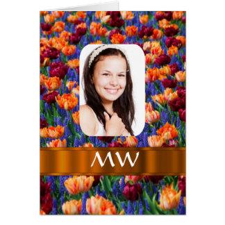 Orange tulip personalized photo card