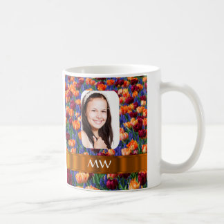 Orange tulip personalized photo coffee mug