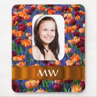 Orange tulip personalized photo mouse pad