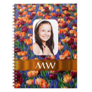 Orange tulip personalized photo notebook
