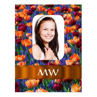 Orange tulip personalized photo postcard
