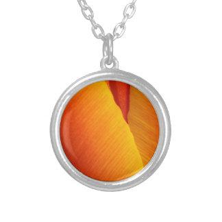 Orange Tulip Silver Plated Necklace