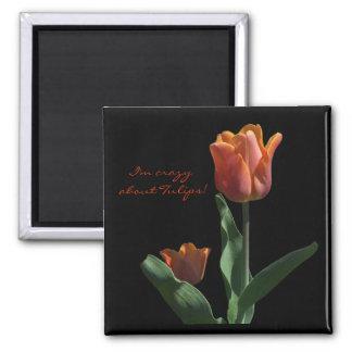 """""""Orange Tulips"""" 2 Inch Square Magnet"""
