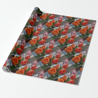 Orange tulips and stained glass wrapping paper