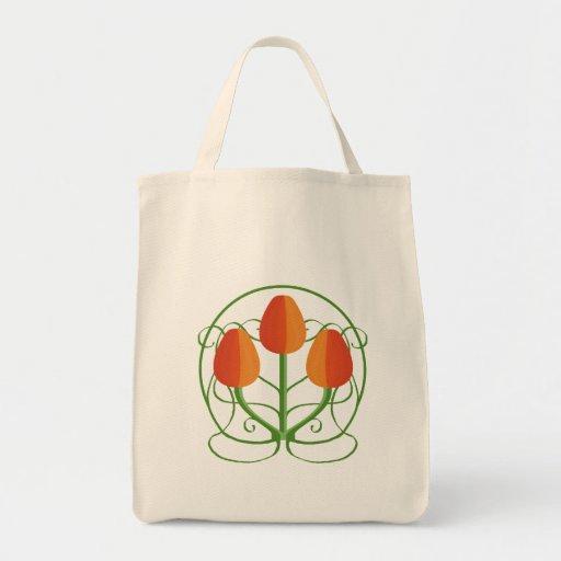 Orange Tulips Art Nouveau Design Tote Bag