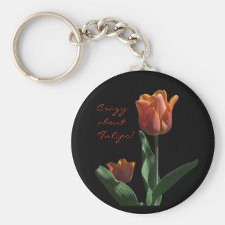 Orange Tulips Basic Round Button Keychain
