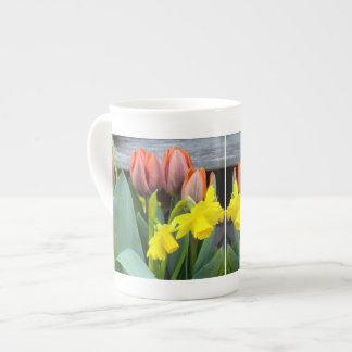 Orange Tulips Daffodils Tea Cup