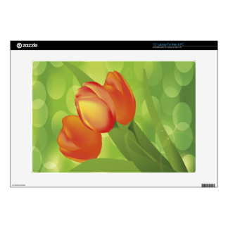 "Orange Tulips Decals For 15"" Laptops"