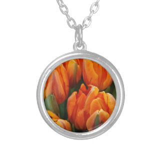 Orange Tulips Flower Garden Spring Pendant