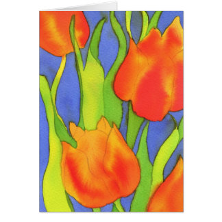 Orange Tulips Greetings Card