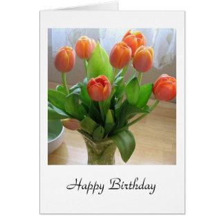 Orange Tulips in Vase Birthday Card