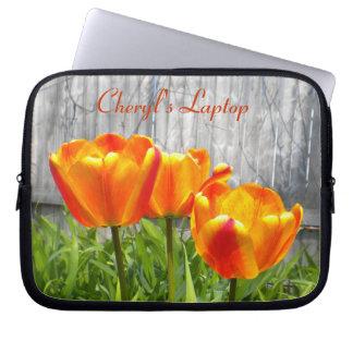 Orange Tulips Laptop Sleeve *personalize*