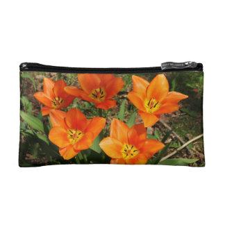 Orange Tulips Makeup Bag
